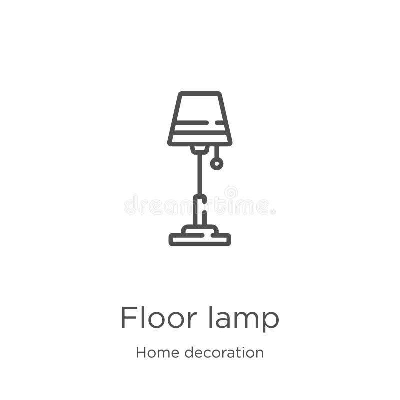 вектор значка лампы пола от домашнего собрания украшения Тонкая линия иллюстрация вектора значка плана лампы пола План, тонкая ли иллюстрация вектора
