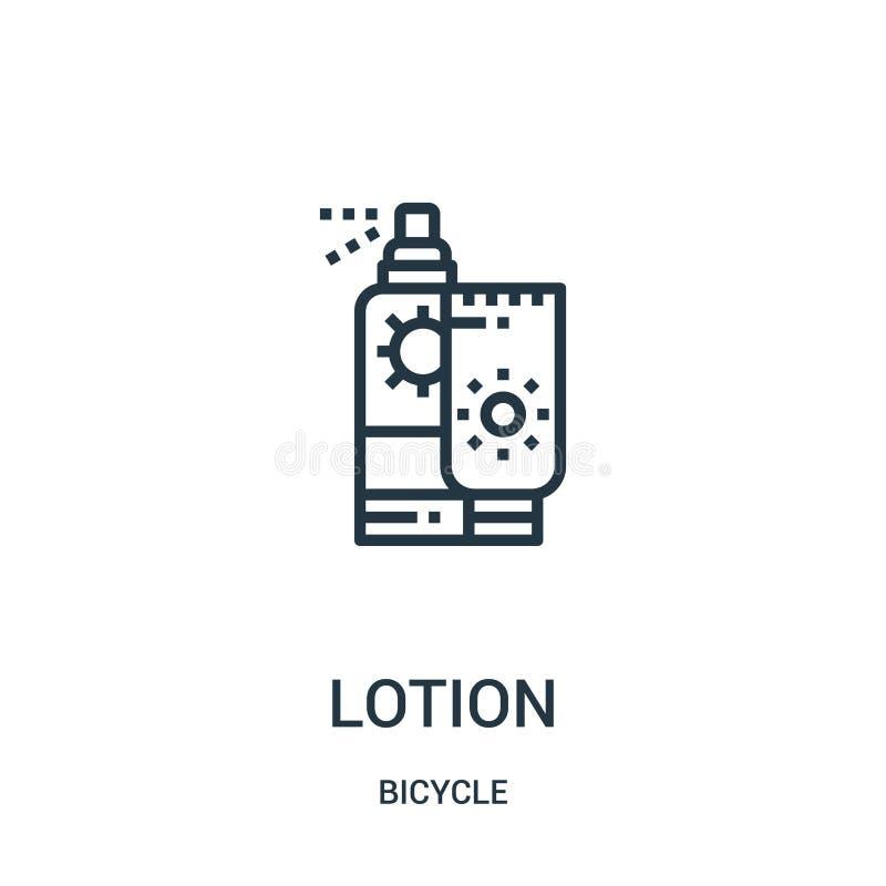 вектор значка лосьона от собрания велосипеда Тонкая линия иллюстрация вектора значка плана лосьона Линейный символ для пользы на  иллюстрация вектора