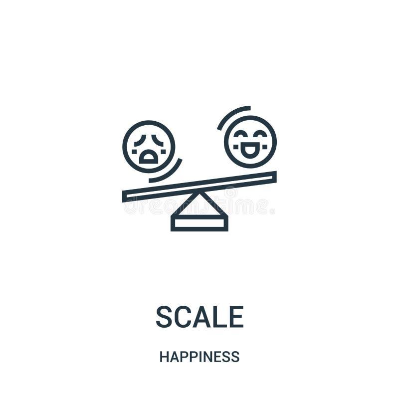 вектор значка масштаба от собрания счастья Тонкая иллюстрация вектора значка плана линейной шкалы Линейный символ для пользы на с бесплатная иллюстрация