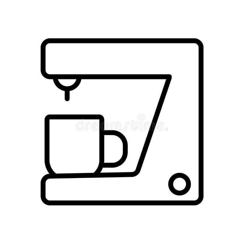 Вектор значка машины кофе изолированный на белой предпосылке, знаке машины кофе иллюстрация штока