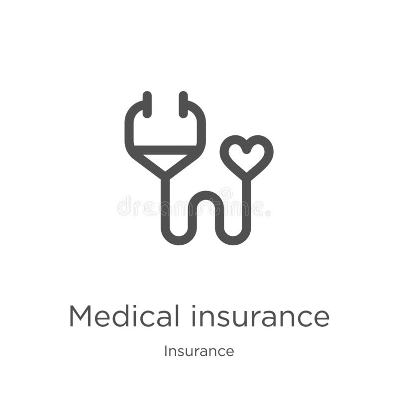 вектор значка медицинского страхования от собрания страхования Тонкая линия иллюстрация вектора значка плана медицинского страхов иллюстрация вектора