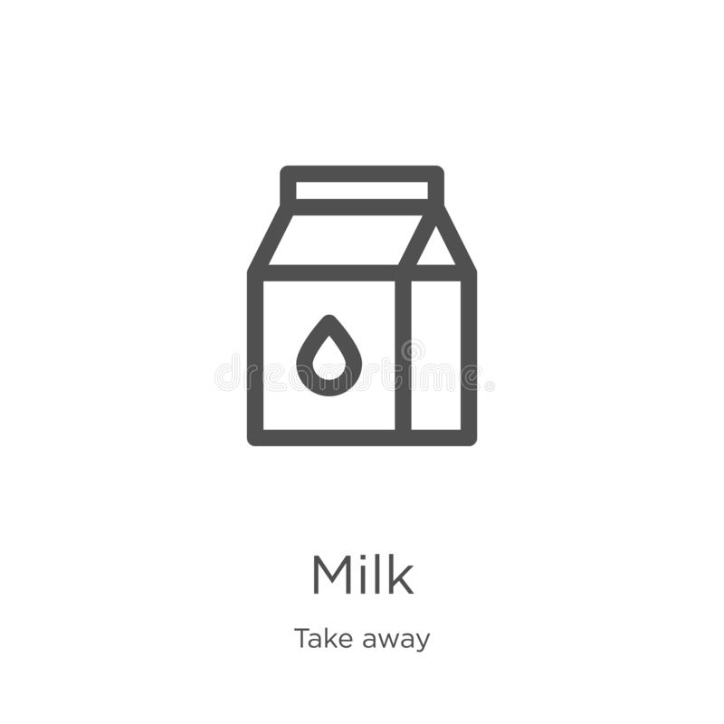 вектор значка молока от взятия собрания прочь Тонкая линия иллюстрация вектора значка плана молока План, тонкая линия значок моло бесплатная иллюстрация