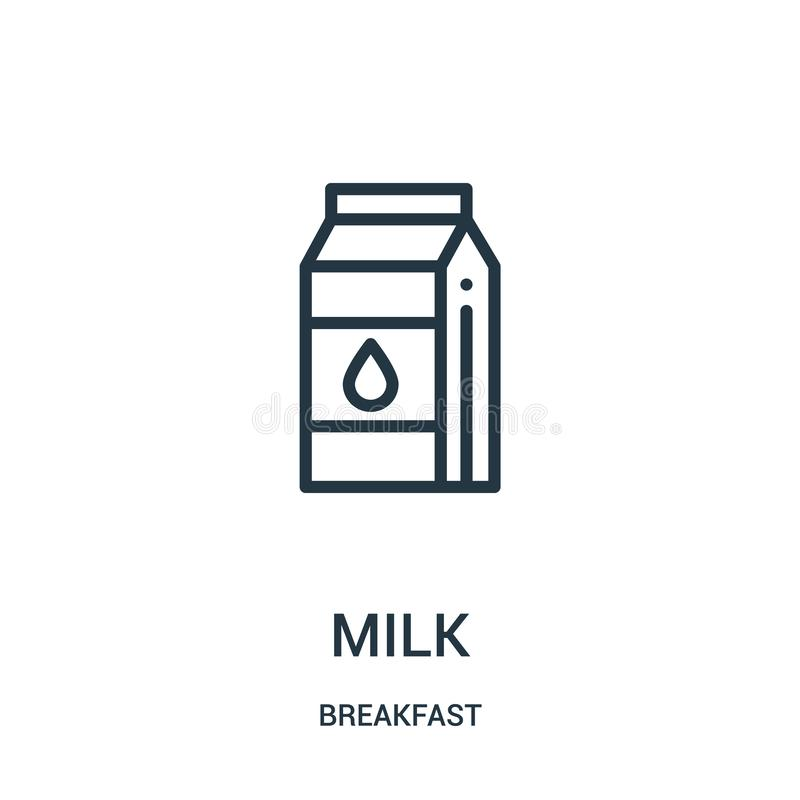 вектор значка молока от собрания завтрака Тонкая линия иллюстрация вектора значка плана молока бесплатная иллюстрация