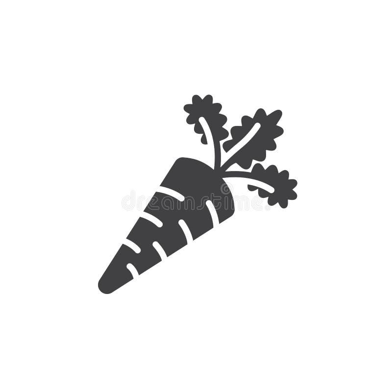 Вектор значка моркови, заполненный плоский знак, твердая пиктограмма изолированная на белизне, бесплатная иллюстрация
