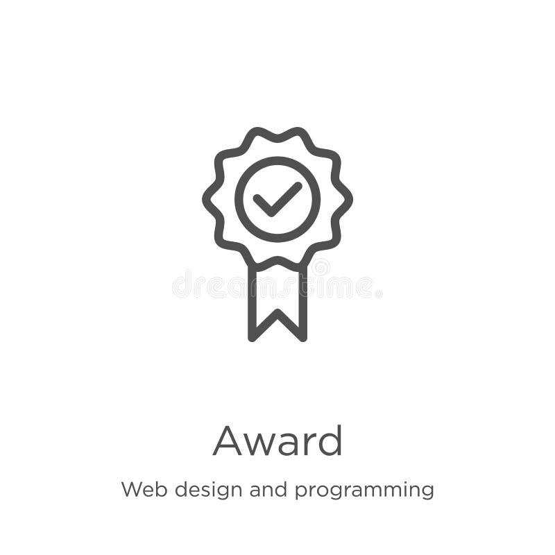 вектор значка награды от веб-дизайна и программируя собрания Тонкая линия иллюстрация вектора значка плана награды r иллюстрация штока