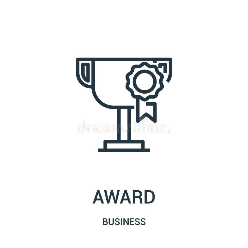 вектор значка награды от собрания дела Тонкая линия иллюстрация вектора значка плана награды Линейный символ для пользы на сети и бесплатная иллюстрация