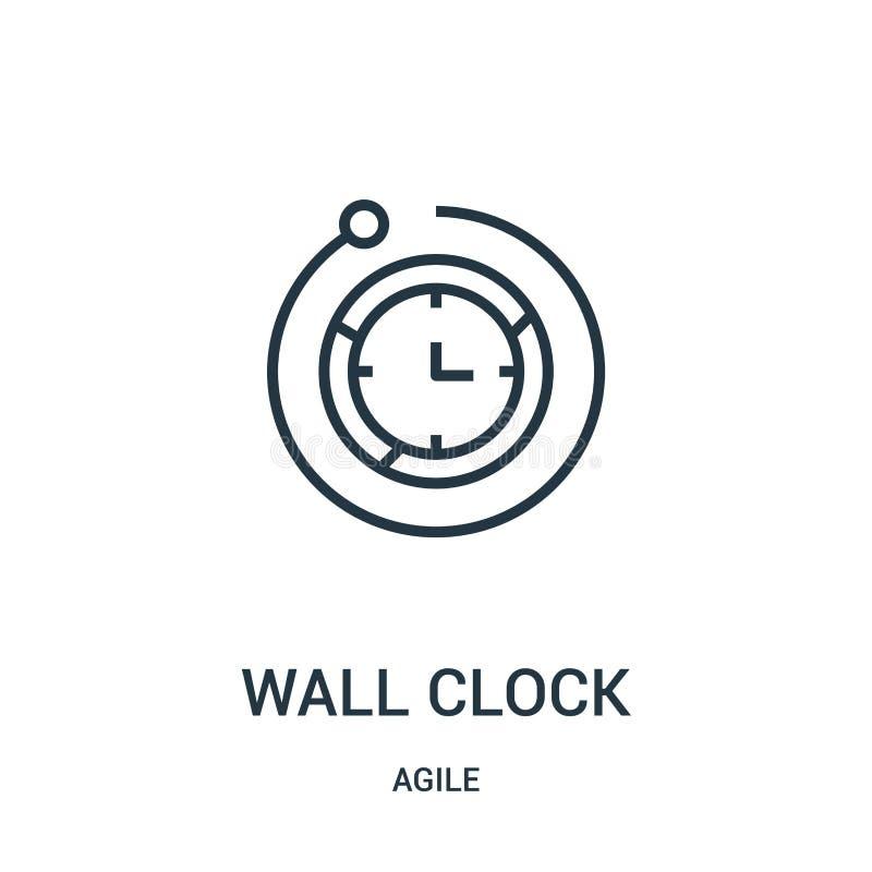 вектор значка настенных часов от проворного собрания Тонкая линия иллюстрация вектора значка плана настенных часов иллюстрация штока