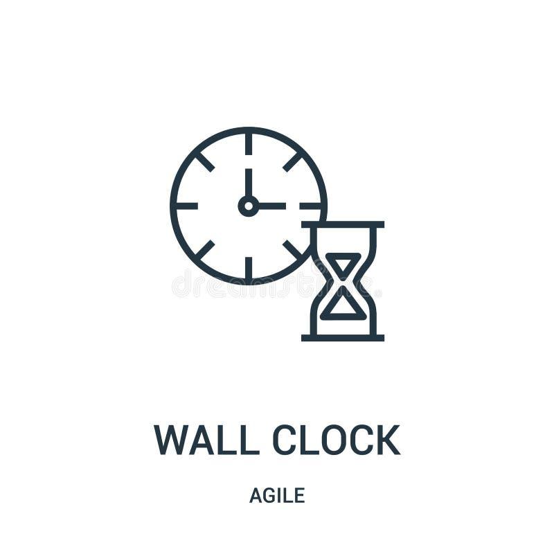 вектор значка настенных часов от проворного собрания Тонкая линия иллюстрация вектора значка плана настенных часов бесплатная иллюстрация