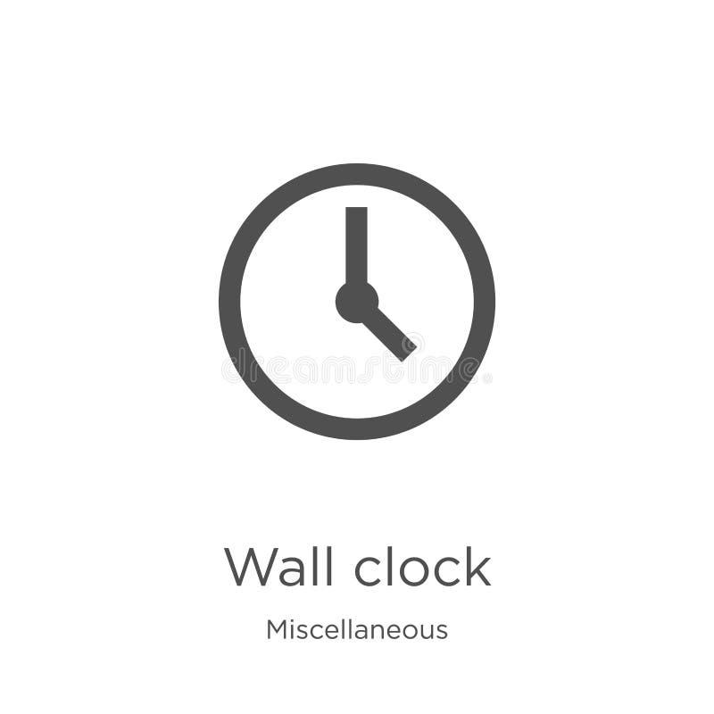 вектор значка настенных часов от разностороннего собрания Тонкая линия иллюстрация вектора значка плана настенных часов План, тон иллюстрация вектора