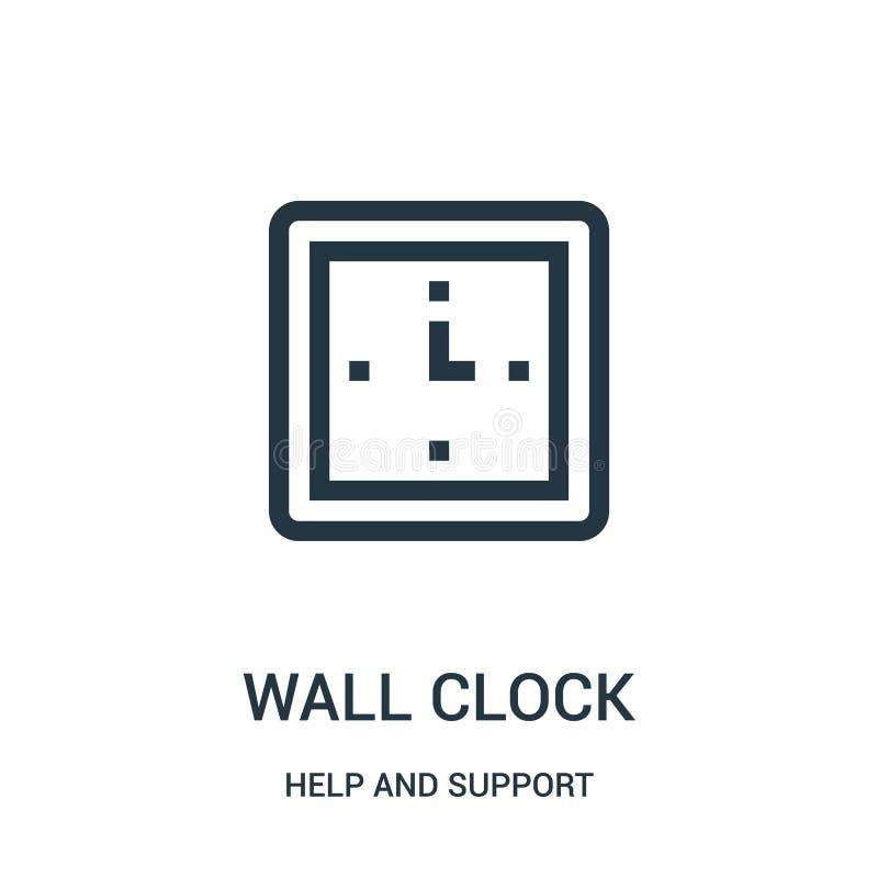 вектор значка настенных часов от собрания помощи и поддержки Тонкая линия иллюстрация вектора значка плана настенных часов Линейн иллюстрация штока