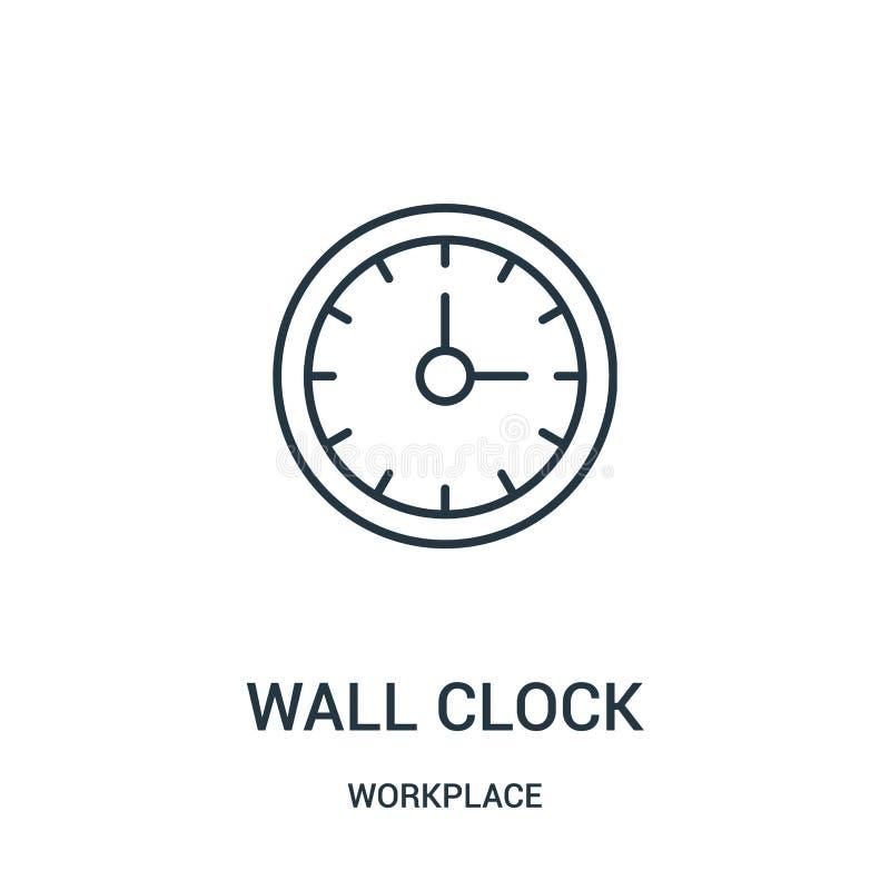 вектор значка настенных часов от собрания рабочего места Тонкая линия иллюстрация вектора значка плана настенных часов иллюстрация вектора