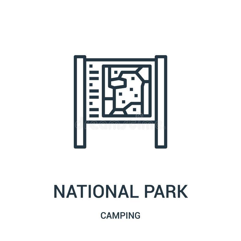 вектор значка национального парка от располагаясь лагерем собрания Тонкая линия иллюстрация вектора значка плана национального па иллюстрация вектора