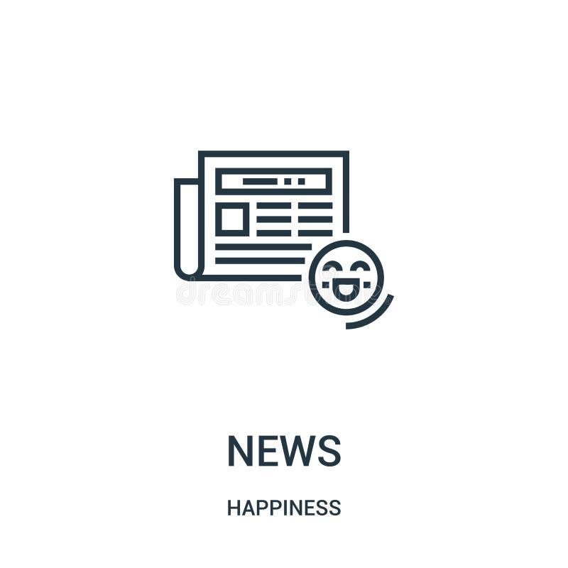 вектор значка новостей от собрания счастья Тонкая линия иллюстрация вектора значка плана новостей Линейный символ для пользы на с иллюстрация штока
