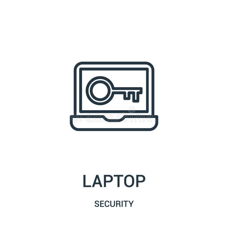 вектор значка ноутбука от собрания безопасностью Тонкая линия иллюстрация вектора значка плана ноутбука r иллюстрация вектора