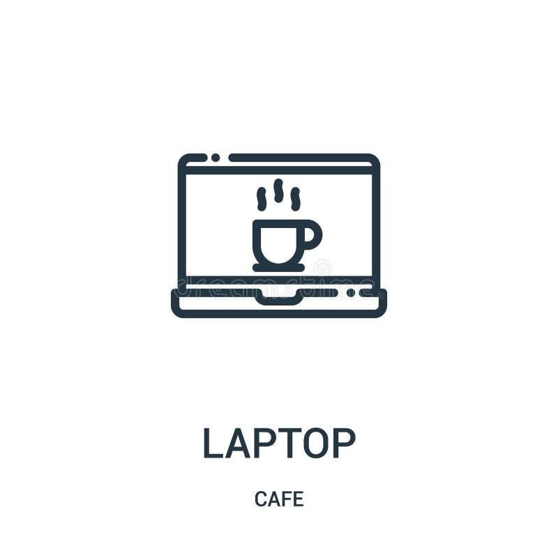 вектор значка ноутбука от собрания кафа Тонкая линия иллюстрация вектора значка плана ноутбука r иллюстрация штока