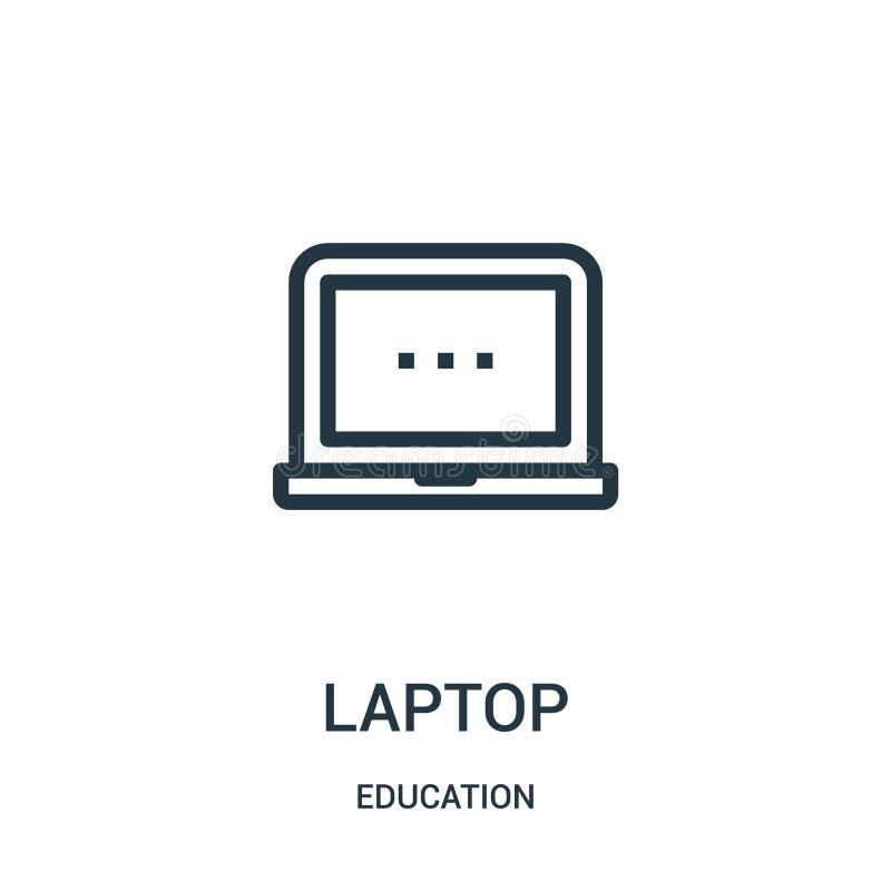вектор значка ноутбука от собрания образования Тонкая линия иллюстрация вектора значка плана ноутбука Линейный символ для пользы  иллюстрация вектора