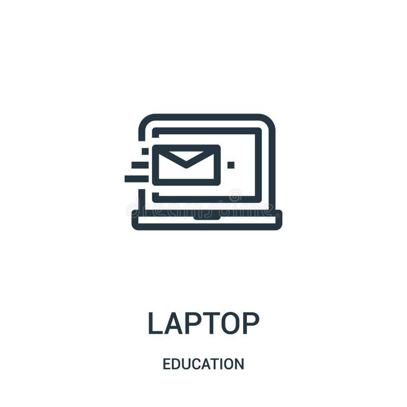 вектор значка ноутбука от собрания образования Тонкая линия иллюстрация вектора значка плана ноутбука Линейный символ для пользы  иллюстрация штока