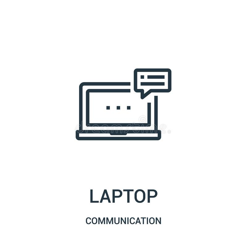 вектор значка ноутбука от собрания связи Тонкая линия иллюстрация вектора значка плана ноутбука Линейный символ для пользы на сет иллюстрация вектора