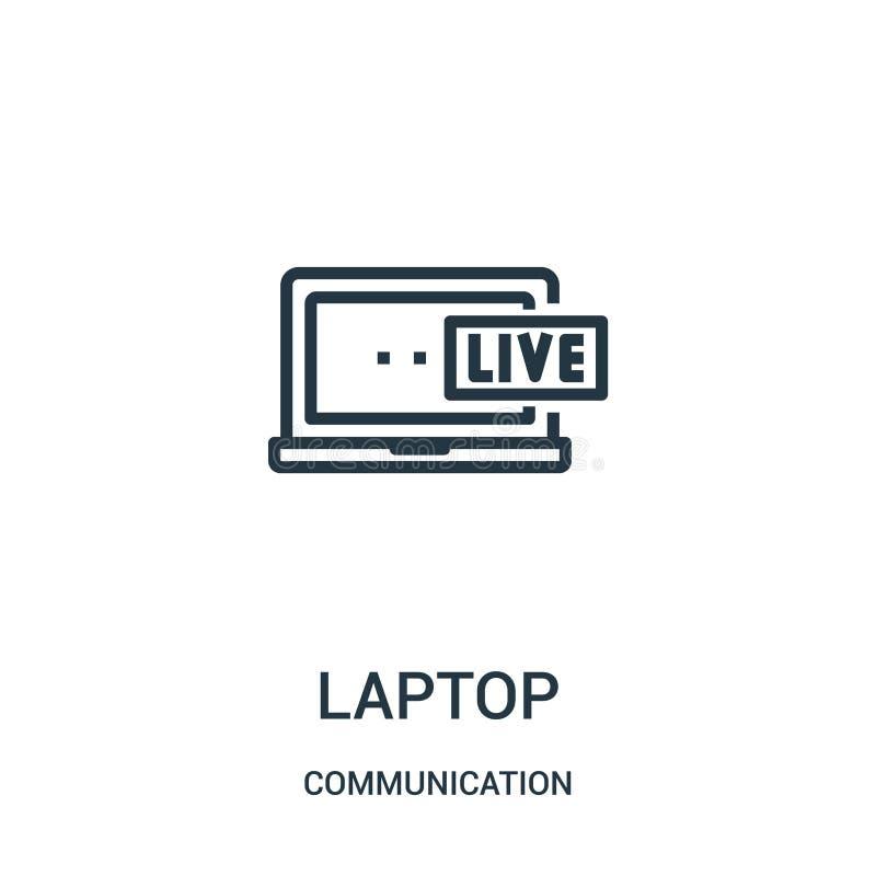 вектор значка ноутбука от собрания связи Тонкая линия иллюстрация вектора значка плана ноутбука Линейный символ для пользы на сет иллюстрация штока