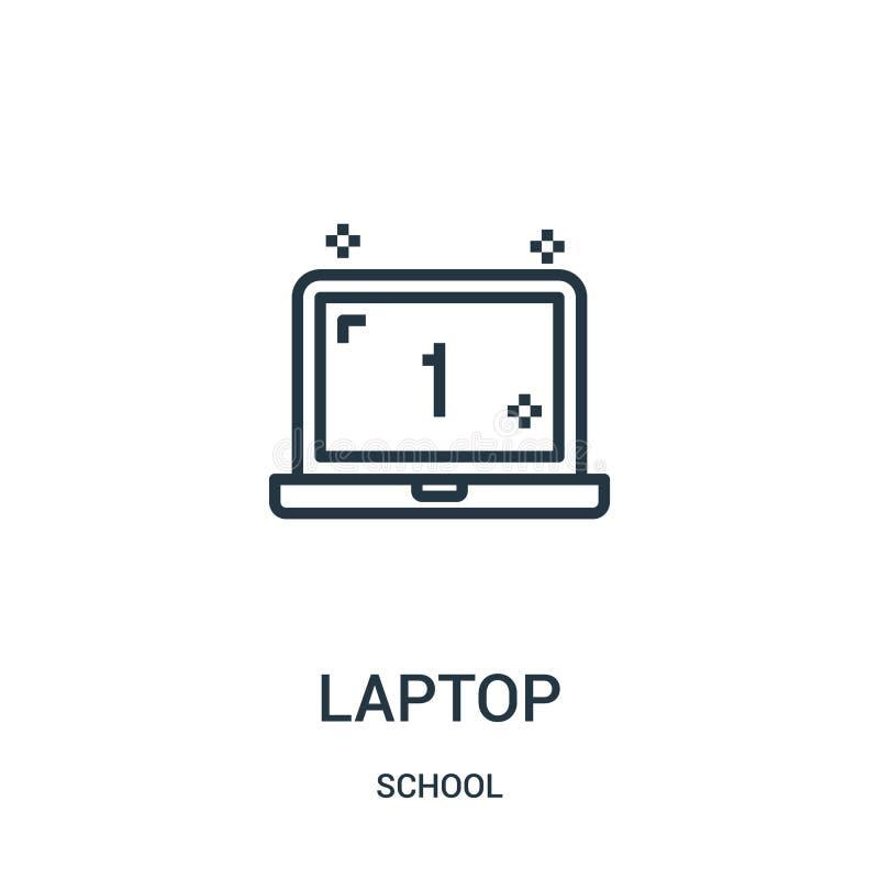 вектор значка ноутбука от собрания школы Тонкая линия иллюстрация вектора значка плана ноутбука Линейный символ для пользы на сет иллюстрация штока