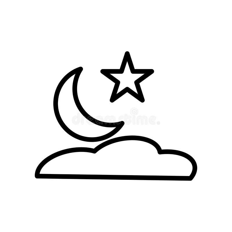 Вектор значка ночи изолированный на белых предпосылке, знаке ночи, линии и элементах плана в линейном стиле бесплатная иллюстрация