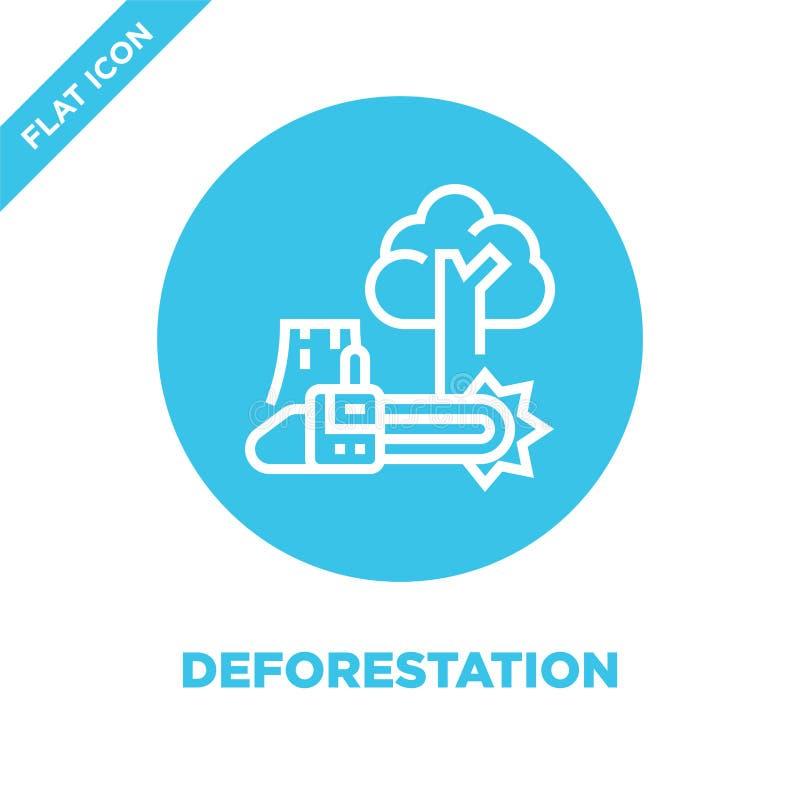 вектор значка обезлесения от собрания глобального потепления Тонкая линия иллюстрация вектора значка плана обезлесения Линейный с бесплатная иллюстрация