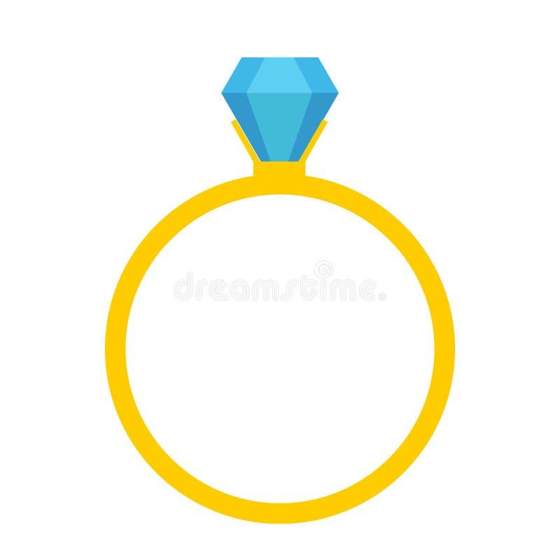 Вектор значка обручального кольца свадьбы диаманта, кристаллическая иллюстрация ювелирных изделий иллюстрация штока