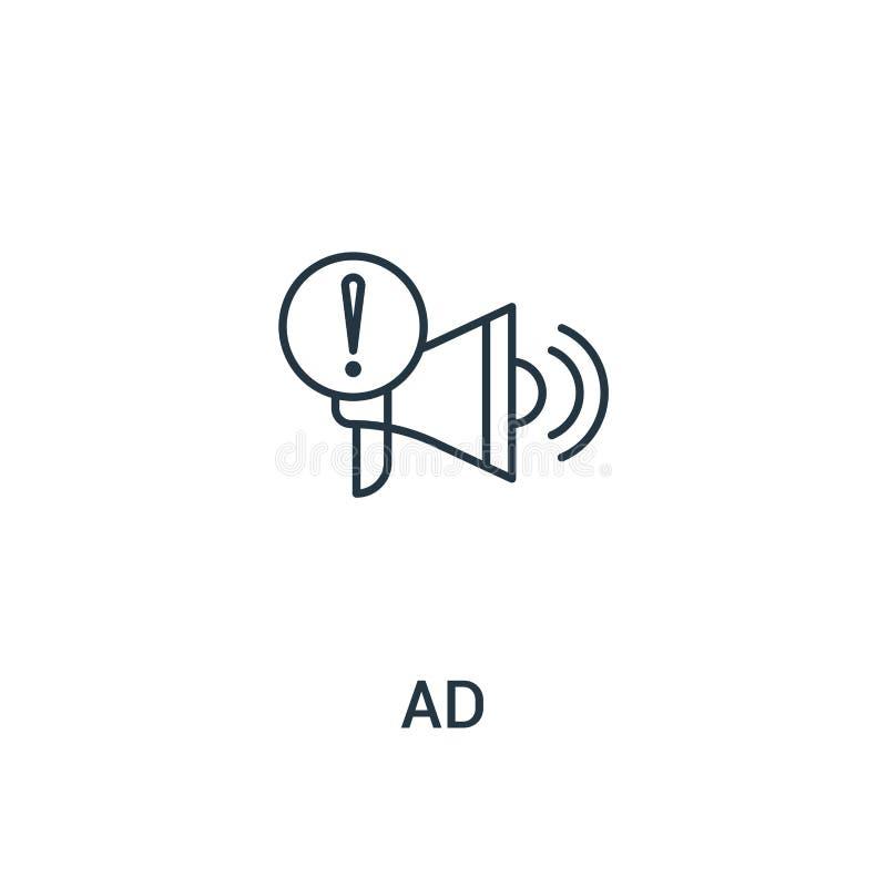 вектор значка объявления от собрания объявлений Тонкая линия иллюстрация вектора значка плана объявления Линейный символ для поль иллюстрация вектора