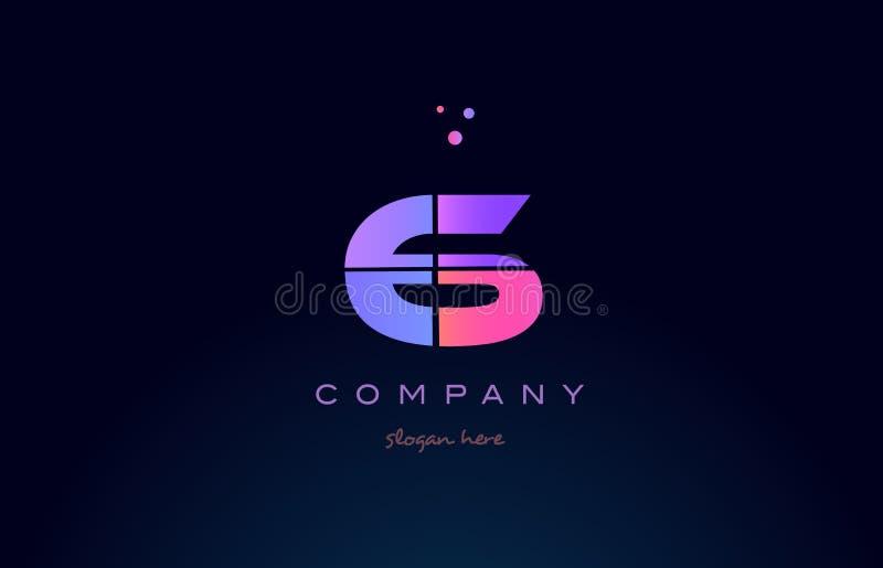 6 6 вектор значка логотипа розового magenta фиолетового числа номера числительный иллюстрация вектора