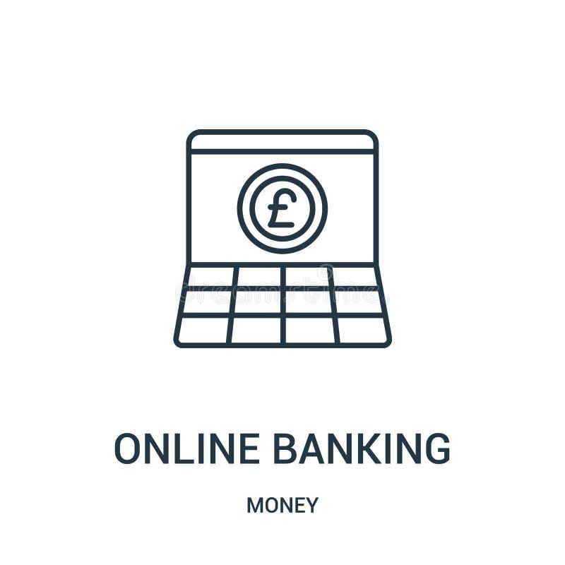 вектор значка онлайн-банкингов от собрания денег Тонкая линия иллюстрация вектора значка плана онлайн-банкингов иллюстрация вектора