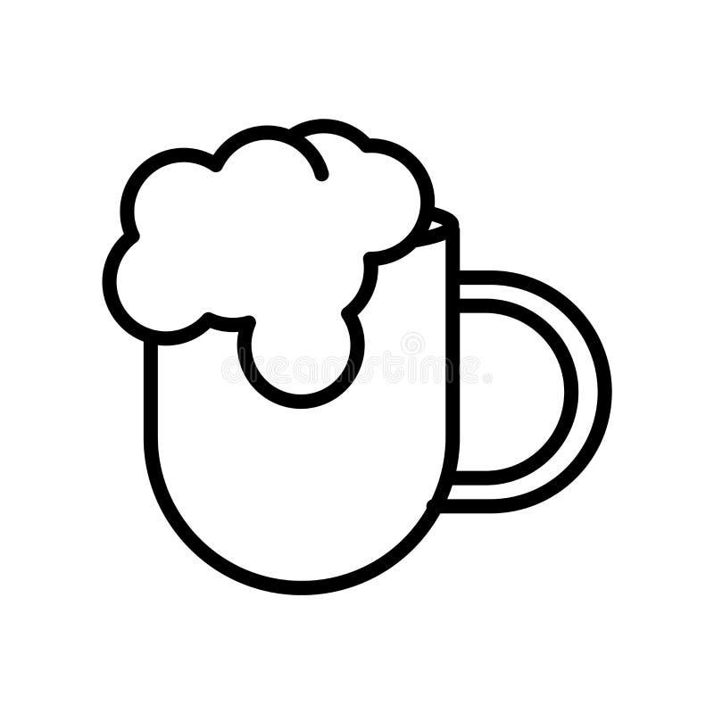 Вектор значка пива изолированный на белой предпосылке, знаке пива, линии или линейном знаке, дизайне элемента в стиле плана иллюстрация вектора