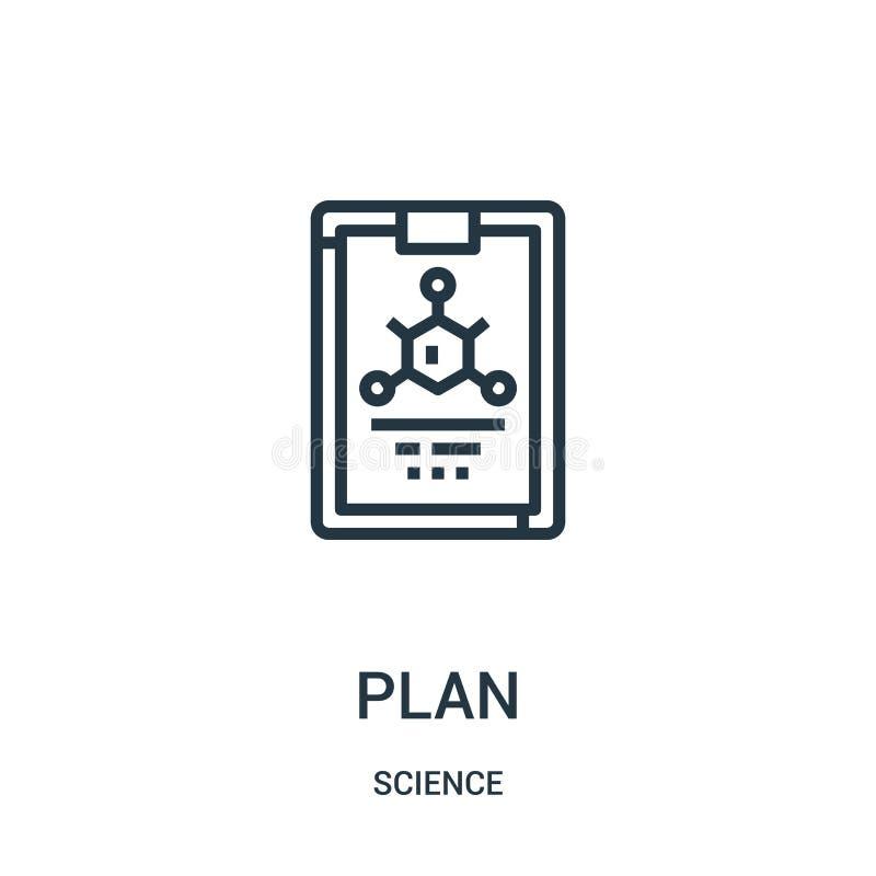 вектор значка плана от собрания науки Тонкая линия иллюстрация вектора значка плана плана Линейный символ для пользы на сети и че бесплатная иллюстрация