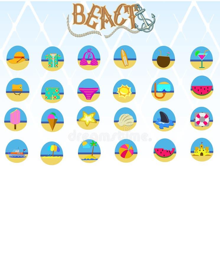 Вектор значка пляжа стоковые изображения