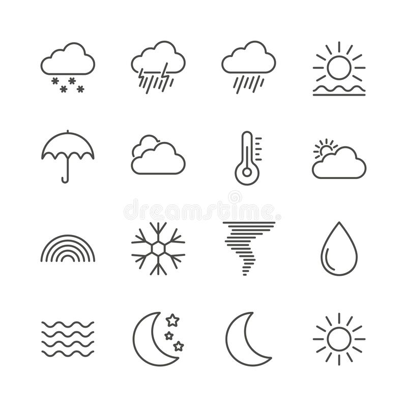 Вектор значка погоды установленный Собрание прогноза плана Ультрамодная тонкая линия стиль, illustrat климата сети иллюстрация штока