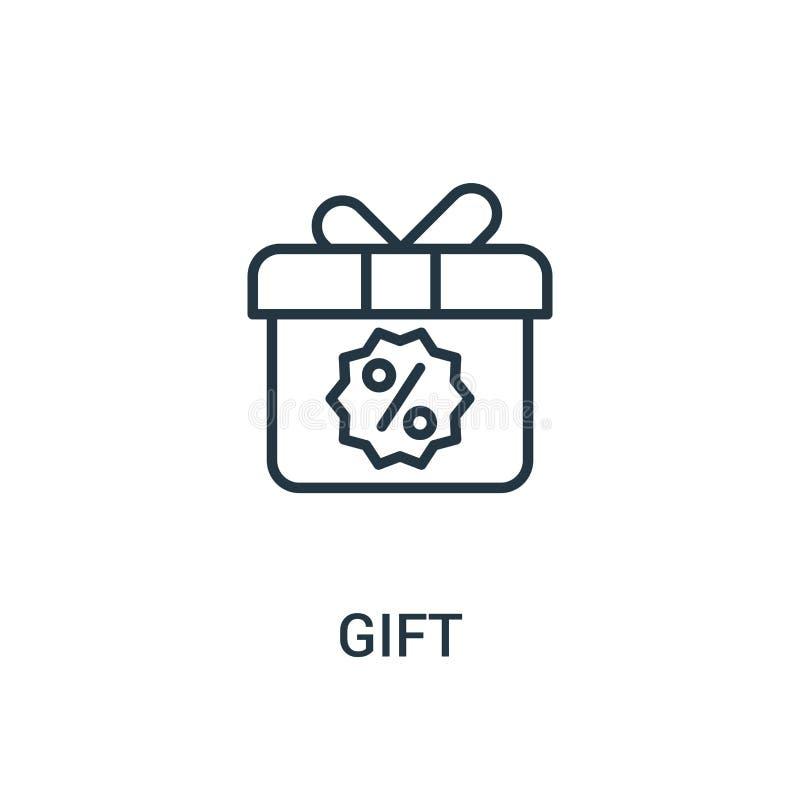 вектор значка подарка от собрания объявлений Тонкая линия иллюстрация вектора значка плана подарка Линейный символ для пользы на  иллюстрация вектора