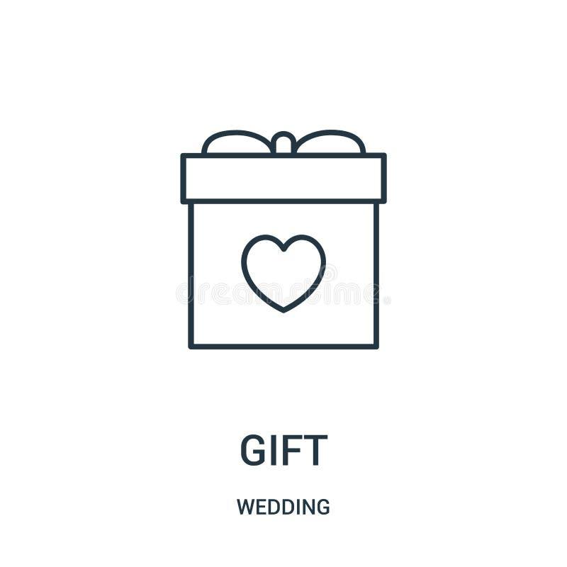 вектор значка подарка от собрания свадьбы Тонкая линия иллюстрация вектора значка плана подарка бесплатная иллюстрация