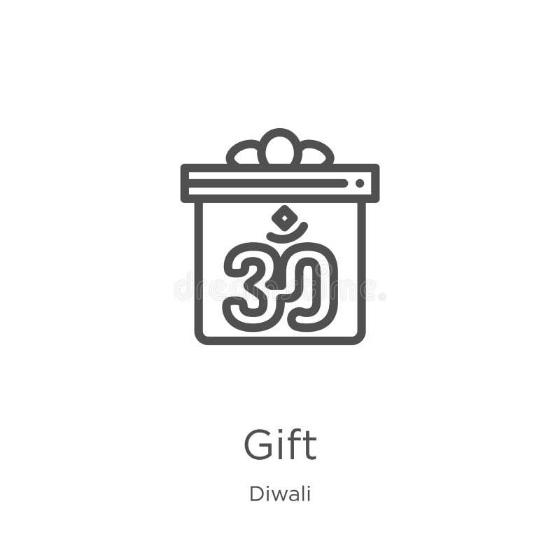вектор значка подарка от собрания diwali Тонкая линия иллюстрация вектора значка плана подарка План, тонкая линия значок подарка  бесплатная иллюстрация