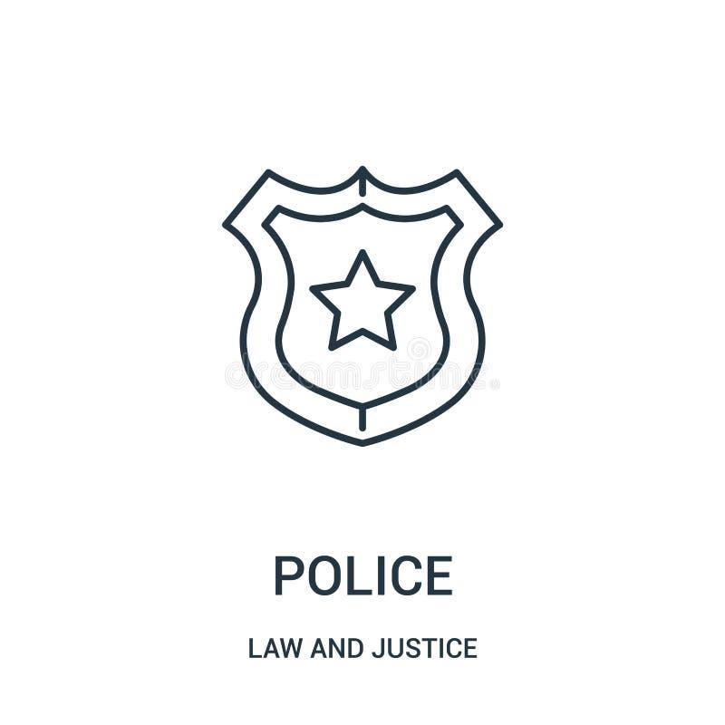 вектор значка полиции от собрания закона и правосудия Тонкая линия иллюстрация вектора значка плана полиции Линейный символ для п иллюстрация вектора