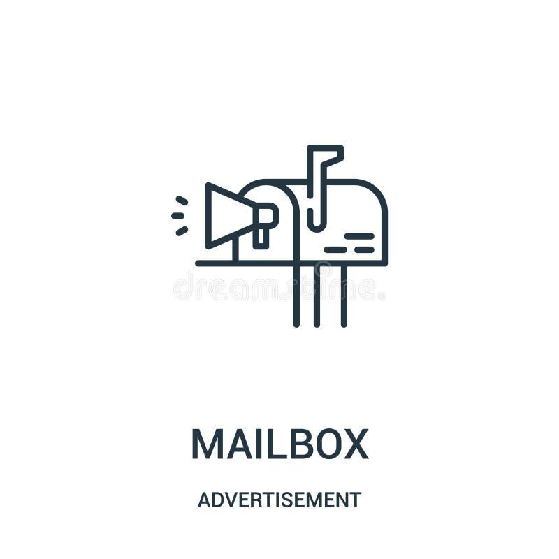 вектор значка почтового ящика от собрания рекламы Тонкая линия иллюстрация вектора значка плана почтового ящика иллюстрация вектора