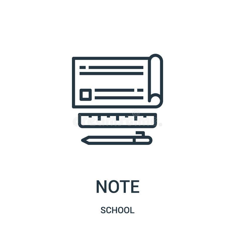 вектор значка примечания от собрания школы Тонкая линия иллюстрация вектора значка плана примечания Линейный символ для пользы на иллюстрация вектора