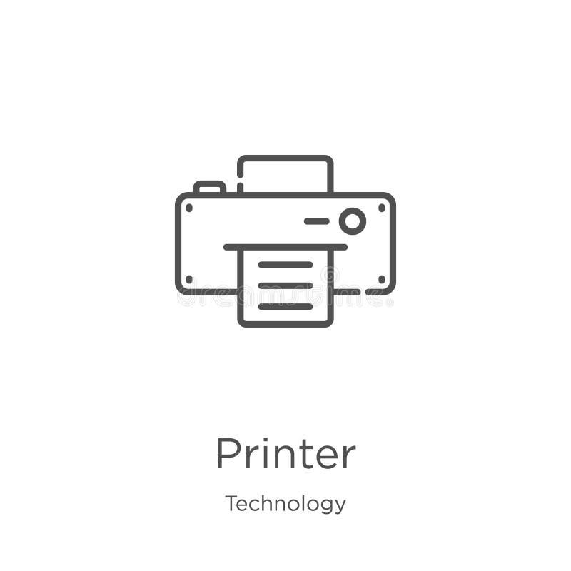 вектор значка принтера от собрания технологии Тонкая иллюстрация вектора значка плана построчно печатающего устройства План, тонк бесплатная иллюстрация
