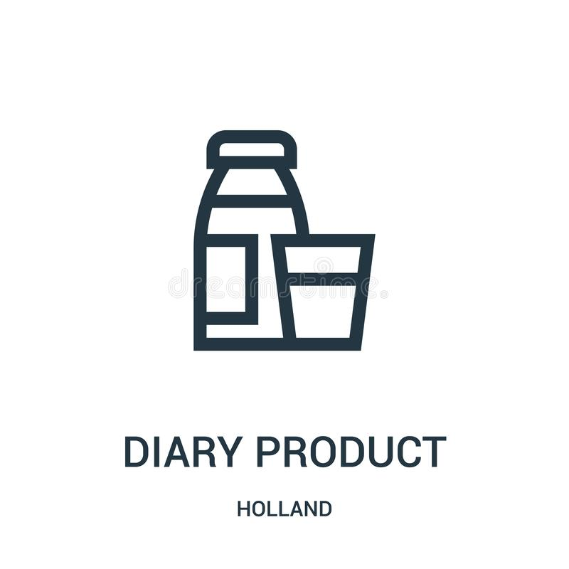 вектор значка продукта дневника от собрания Голландии Тонкая линия иллюстрация вектора значка плана продукта дневника Линейный си иллюстрация штока