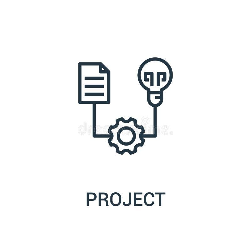 вектор значка проекта от собрания seo Тонкая линия иллюстрация вектора значка плана проекта Линейный символ для пользы на сети и иллюстрация вектора
