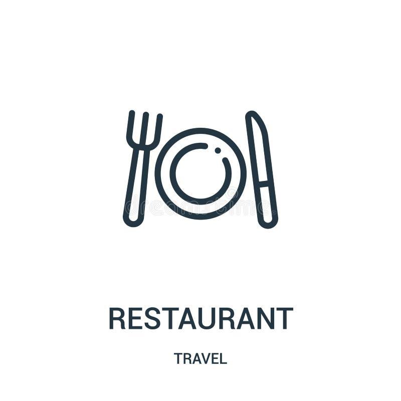 вектор значка ресторана от собрания перемещения Тонкая линия иллюстрация вектора значка плана ресторана Линейный символ для польз иллюстрация вектора