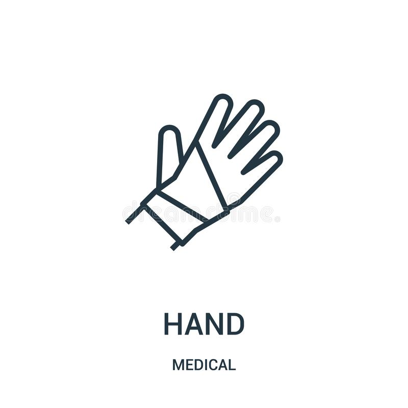 вектор значка руки от медицинского собрания Тонкая линия иллюстрация вектора значка плана руки Линейный символ для пользы на сети иллюстрация вектора