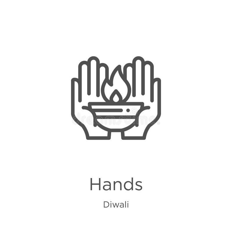 вектор значка рук от собрания diwali Тонкая линия иллюстрация вектора значка плана рук План, тонкая линия значок рук для иллюстрация штока