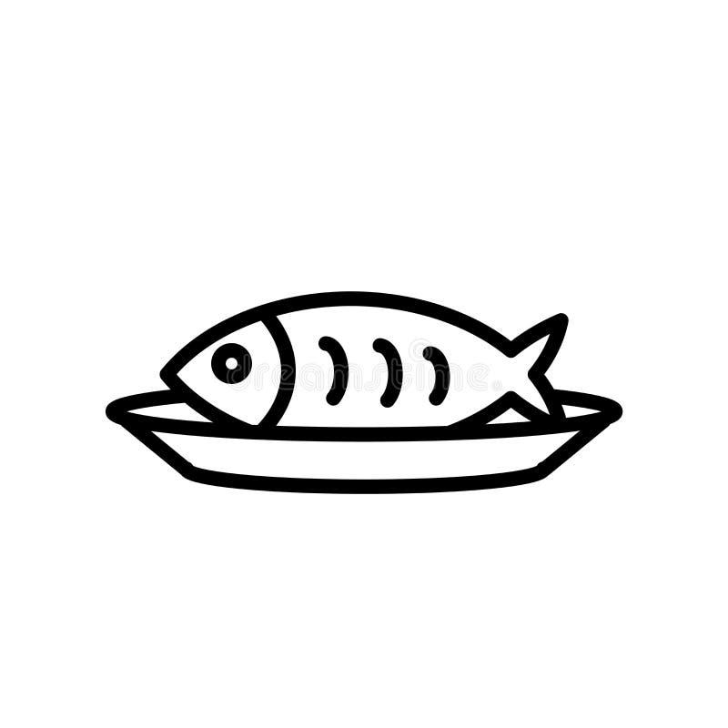 Вектор значка рыб изолированный на белой предпосылке, удит знак, линию или линейный знак, дизайн элемента в стиле плана иллюстрация штока