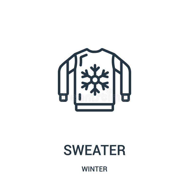 вектор значка свитера от собрания зимы Тонкая линия иллюстрация вектора значка плана свитера Линейный символ для пользы на сети и бесплатная иллюстрация
