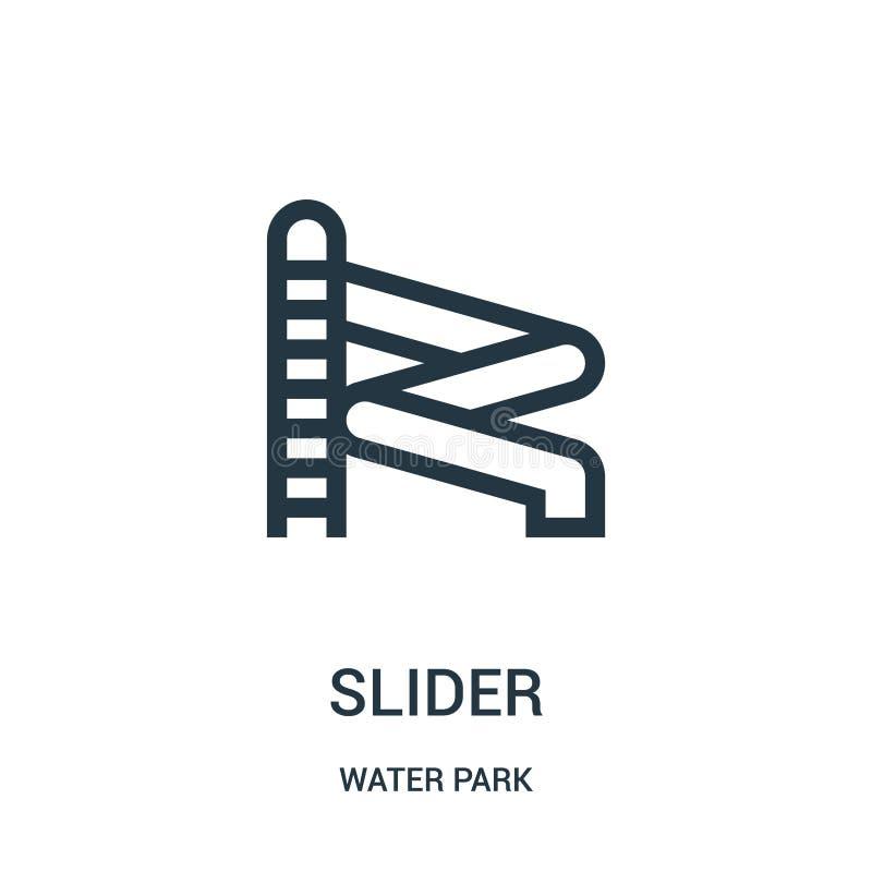 вектор значка слайдера от собрания аквапарк Тонкая линия иллюстрация вектора значка плана слайдера Линейный символ для пользы на  бесплатная иллюстрация