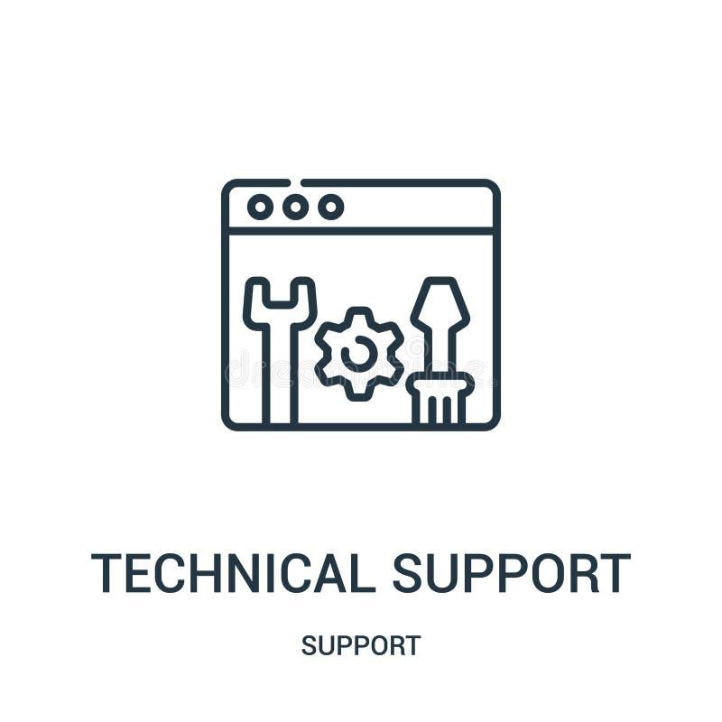 вектор значка службы технической поддержки от собрания поддержки Тонкая линия иллюстрация вектора значка плана службы технической иллюстрация вектора